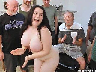 Dirty D Threw A Hot Bukkake Party For This Lovely Short Brunette With Big Ol Titties