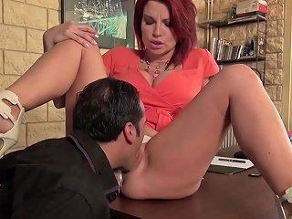 La Cochonne French Redhead Fucks On A Desk In Her