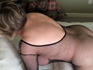 Mom Is Cumming While Wearing A Black Bodystocking