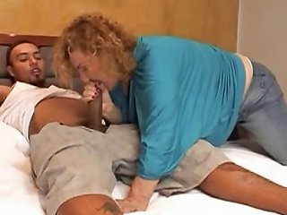 Mature Transsexual With Curly Hair Blows And Get Fucked