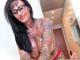 German Amateur Big Tits Tattoo MILF Fuck In Oil At Home POV