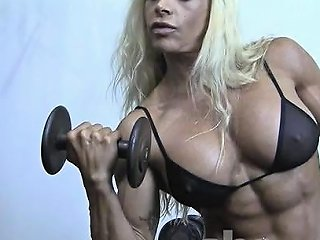 Sexy Blonde Female Bodybuilder In See Through Top Works Out Drtuber