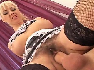 This Sexy Maid Gets Mounted And Takes A Load On Her Hairy Pussy