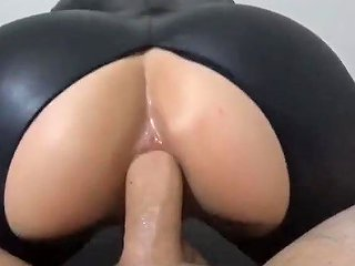 Brunette Teen Fucked And Facial In Black Latex Catsuit