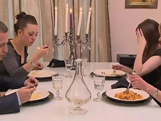 Dinner Turned Into Wild Anal Threesome Fuck Sexy Lady Worships 2 Cocks At Once