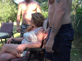 Husband Is Watching His Mature Wife Fucking Two Horny Young Dudes In The Garden Anysex Com Video