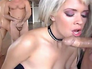 Blonde Kissy Kapri Gets Cum In Mouth After Blowing Multiple Cocks In A Group Sex