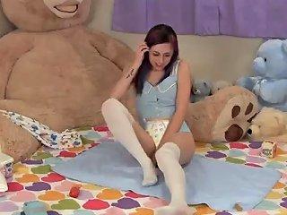 Koneko Changes Her Diaper Then Dry Humps Teddy