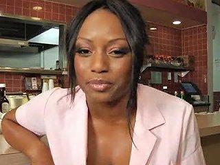 Black Waitress Fucks The Chef In The Restaurant