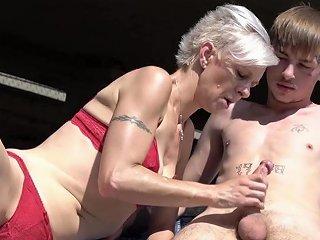 Pixie Grandma Swallows Young Cock Beneath Bridge Porn F3