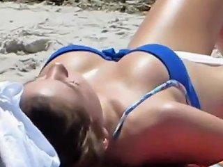 Hot Brunette With Nice Body Sunbathing