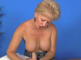 Old Blonde Jerks Cock