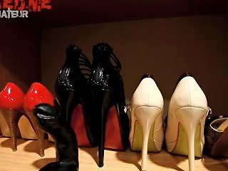 Shoejob Slut Showing Her Heeljob Mules Collection Porn 1c
