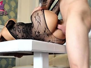 Anal Gaping Her Big Butt In Sexy Body Stocking