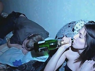 Horny Chick Fucks His Friend While Her Bf Is Sleeping Like Dead